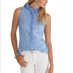WHBM Chambray Ruffled Jewel  Button Down Top 4